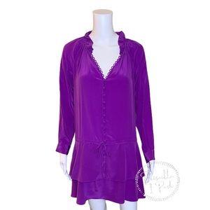 Rebecca Taylor 100% Silk Long Sleeve Ruffle Dress